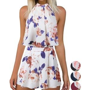 Women's Two Piece Floral Summer Halter Romper